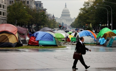 Occupiers with Tents from the Sporting Goods Store because of Capitalism