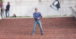 Man waving IS flag - Israeli flag