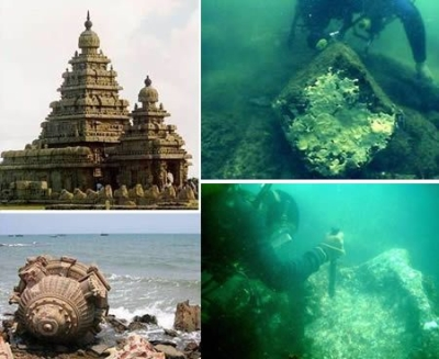 Underwater ruins at Mahabalipuram, India